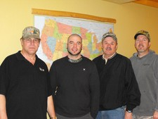 Here is the Outdoorsmen Adventures crew (left to right); camera man Chuck Doom, camera man Mike, Gary Howey and Tom Mitchell.